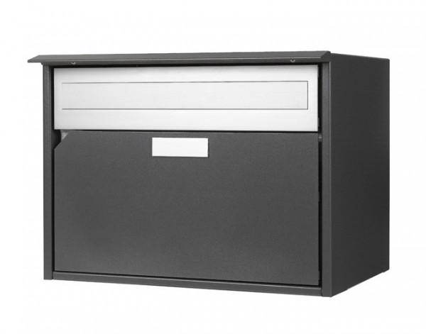 Briefkasten Alu 400 grau metal Flache-Front, 415x310x290