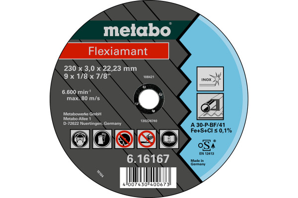 Trennscheibe Flexiam. 180x3,0x22,2, Inox A30P,1