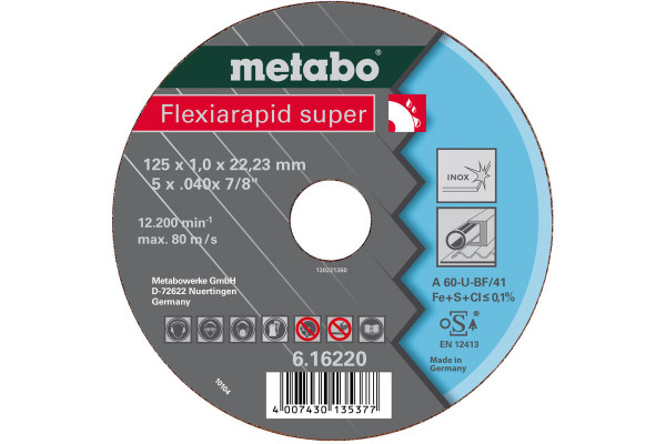 Trennscheibe Flexiar.sup. 125x0,8x22,2 Inox A60U,2