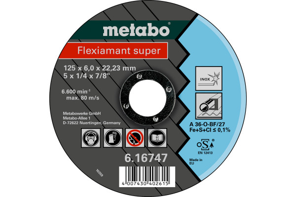 Schruppscheibe Flexiam.sup. 125x6,0x22,2, Inox A36O
